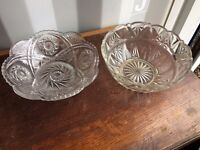 Several Old, Medium/ Large Cut Glass Bowls