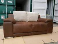 EX DISPLAY Brown Beige Rhyno Leather Large 2 Seater Sofa DELIVERY AVAILABLE