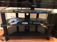 Black 2 shelf shelving TV television unit storage