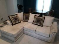 Corner sofa creme with 2 seater and footstool