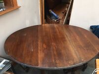 Antique/Vintage Oak Folding Table with x4 chairs.