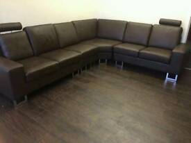 Brown 6 seater corner sofa