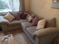 Gorgeous sliver grey L shape sofa scatter back cushions like new 8months old