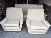 CREAM FABRIC 2 SEATER SOFA WITH 2 ARM CHAIRS,CAN DELIVER