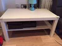 great condition white ikea coffee table with shelving