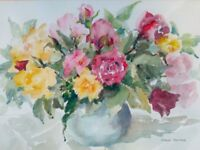 'Summer Glory'. Watercolour by DORIS PETTER (British artist - circa 1970 - Madeleine Petter?)