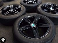 "NEW GENUINE BMW 17"" ALLOY WHEELS - 5 X 120 - 225/45/17 - CRYSTAL BLACK - Wheel Smart"