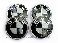 BMW WHEEL CENTRE CAPS BLACK CARBON FIBRE TUNING 68MM BRAND NEW SET x 4