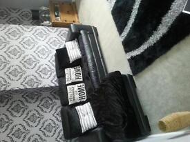 real leather corner sofa( black)