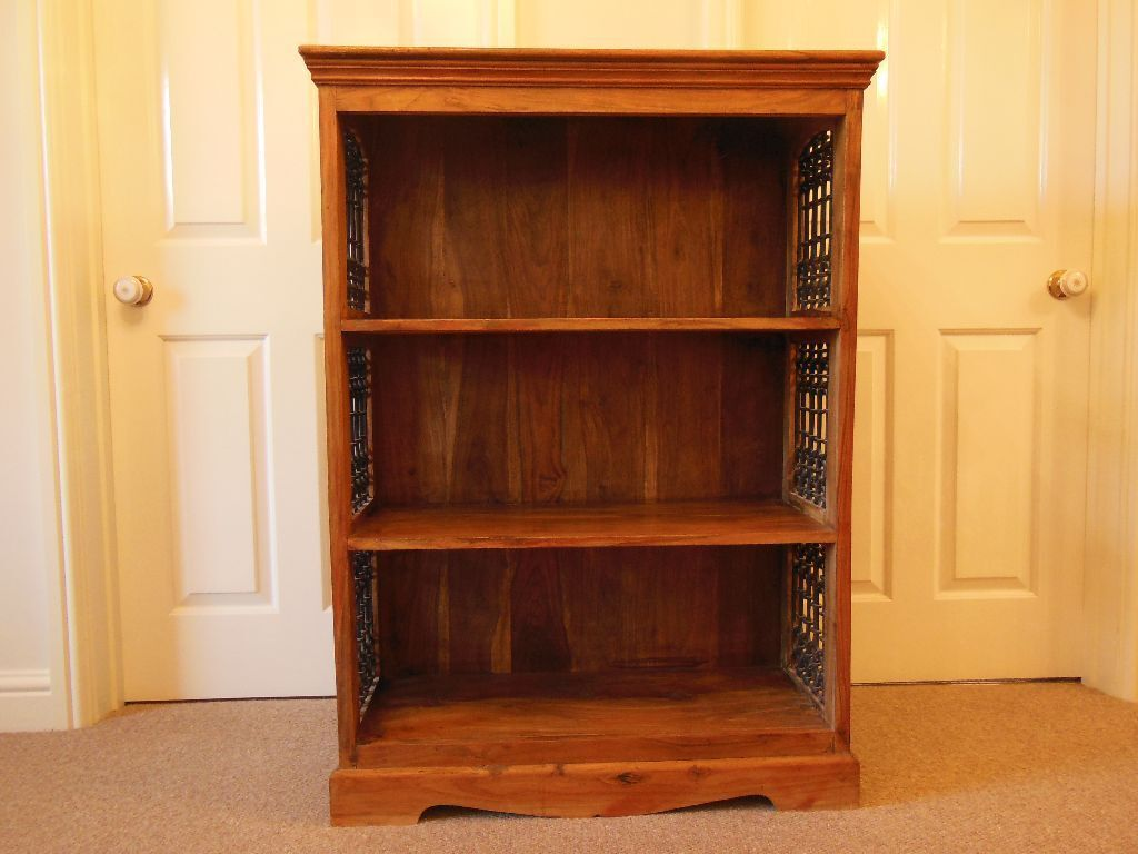 Indian Sheesham Wood Bookcase With Jali Wrought Iron Side Features