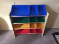 Childrens wood and plastic toy storage tubs/boxes