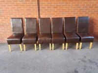 6 Brown High Back Faux Leather Chairs FREE DELIVERY 678