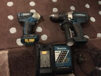 Makita BHP451 LXT + BDT140 18V Cordless Combi Drill Impact Driver Kit Bare Units with Charger Only