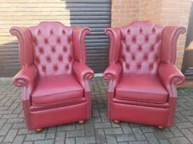 Chesterfield genuine leather wingback chairs 325 EACH!! EXCELLENT CONDITION THROUGHOUT!BARGAIN!
