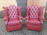 Chesterfield genuine leather wingback chairs. A PAIR!! EXCELLENT CONDITION THROUGHOUT!BARGAIN!