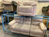 HARVEYS SUEDE SOFA SET RECLINERS 3+1 seater