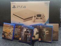 PS4 Slim White + 6 Games