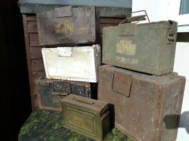 WW2 BRITISH ARMY WOODEN BOXES & WW2 US AMERICAN METAL BOX