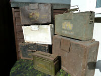 WW2 BRITISH ARMY WOODEN BOXES & WW2 US AMERICAN METAL BOX