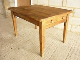 ANTIQUE VICTORIAN PINE KITCHEN TABLE WITH DRAWER
