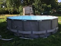 Used, Intex 16' Above Ground Pool with Separate sand filter and saltwater chlorination system