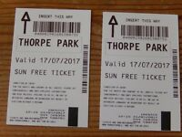 THORPE PARK TICKETS x 2 MONDAY 17th JULY 2017 £25 for both
