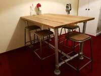 Industrial Scaffold dining table and 6 stools