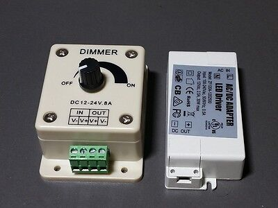 LED Light Driver 12V 30W Power Adapter Supply CV with Hardwire Dimmer 12-24V (Hardwire Driver)