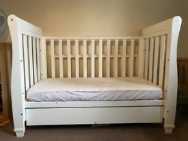 Babymore Eva white cot bed with drop side and drawer