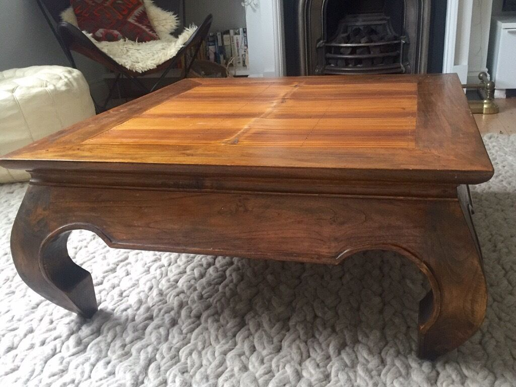 Gorgeous Balinese Solid Wood Teak Bamboo Square Opium Legged Coffee Table
