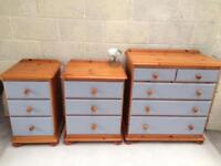 Bedroom furniture inc chest of drawers and bedside tables in grey. Dovetail joints