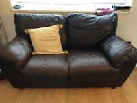 Italian brown leather sofa