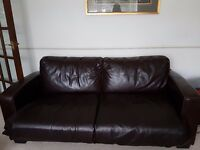 3 Seater brown leather sofa bed