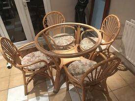 Vintage bamboo and glass round table and 4 chairs