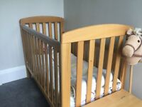 Mamma and Papas solid Oak Cot, Cot top changer, mattress and spare mattress cover