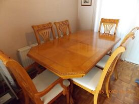 Beautiful Italian Solid Wood Table, 6 Chairs with inlay to extend to seat 8 people