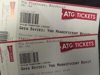 Greg Davies two stalls tickets Edinburgh Playhouse 12 October 2017