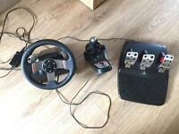 Logitech G27 Steering Wheel, Pedals, Gear Stick