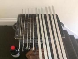 Portable Barbecue Shashlik Mangal Grill Set Maker Case Outdoor BBQ Kabab Stove with Shishes