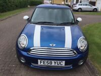 Beautiful low mileage Mini One 1.4 for sale. blue with white stripes on bonnet
