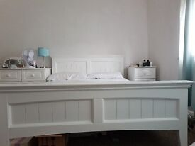White wood double bed with matress