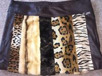 Miss sixty brown faux leather & fur skirt size medium