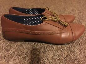 Ladies tan brogue shoes size 6 - Next