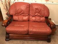 X2 leather and oak sofas