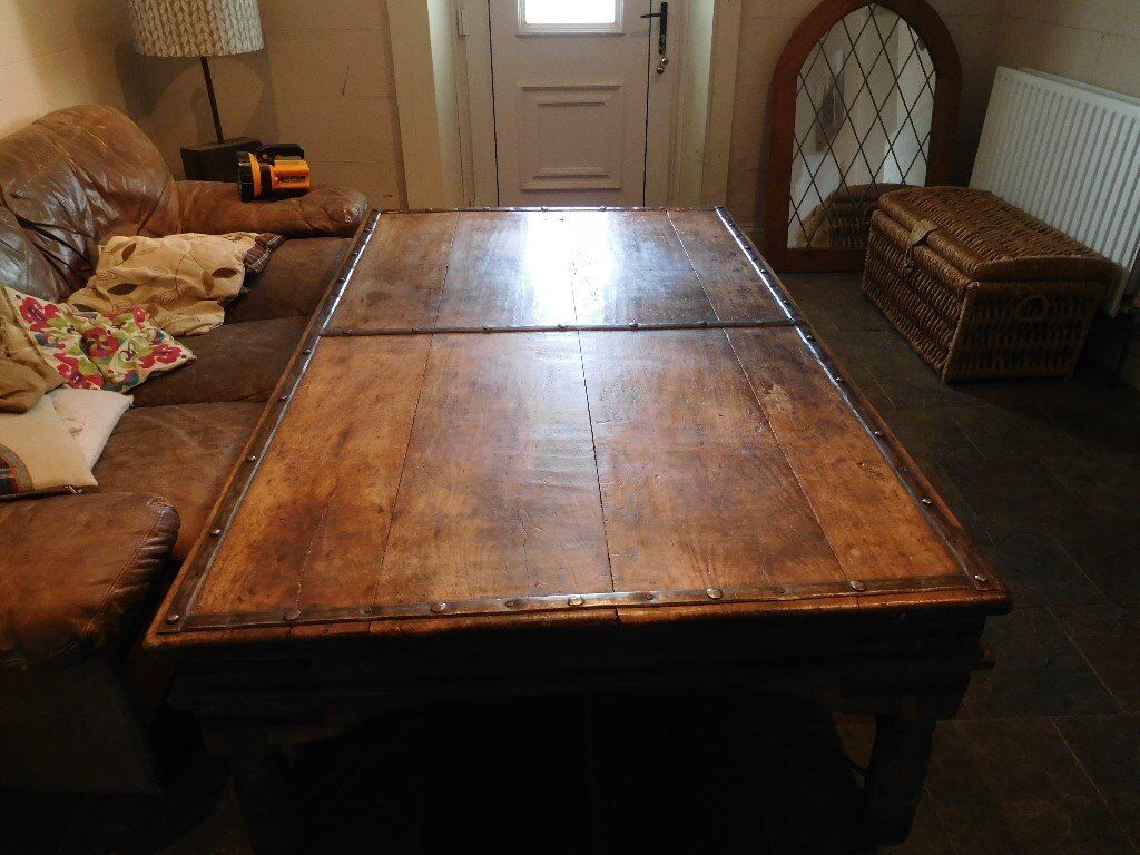 Rustic Large Solid Wood Oak Pine Metal Bands Studded Display Coffee Table