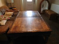 Rustic Large Solid Wood Oak / Pine Metal Bands Studded Display / Coffee table