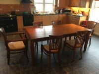 Dining room table & six chairs