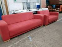 Red fabric 3 seater and 2 seater sofas