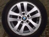 """BMW E46 E87 E90 E91 3 Series 5 double spoke alloy wheel with tyre 16"""" 6765810"""