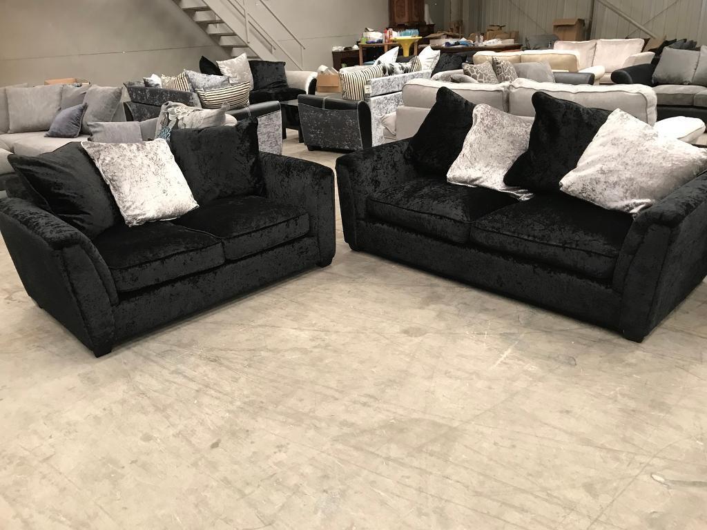 New 3 2 Black Crushed Velvet Sofa Suite